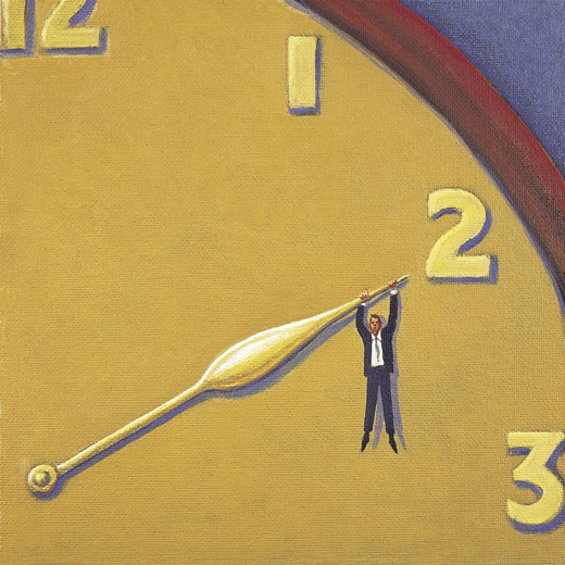 Stock Photo: 1598R-9974503 Businessman Hanging From Clock