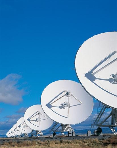 Row of Satellite Dishes : Stock Photo