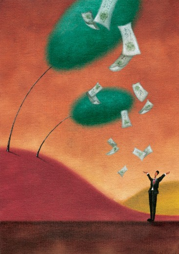 Money raining down from trees : Stock Photo