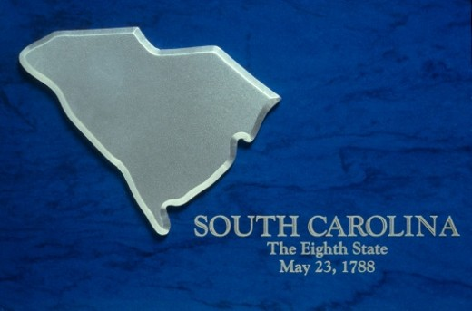 Stock Photo: 1598R-9978105 Silver Map of South Carolina