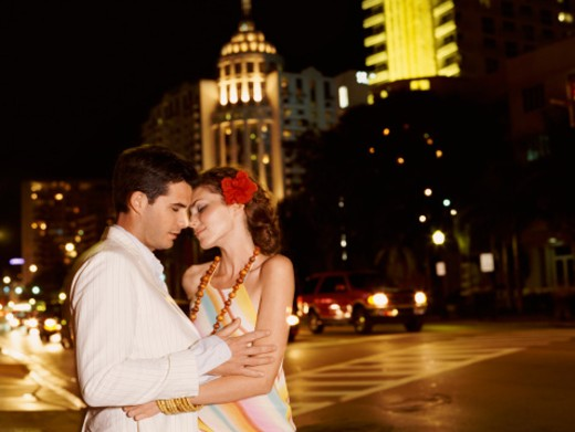 Stock Photo: 1598R-9979129 Couple Stands by a Road Kissing
