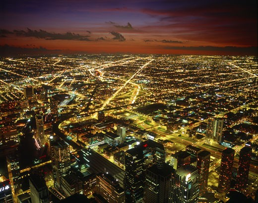 This image was taken from the Sears Tower, dusk in Sep 2004. : Stock Photo
