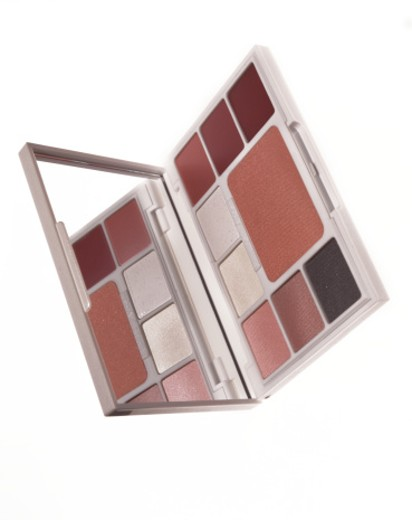 Set box of eyeshadows and blush on white background : Stock Photo