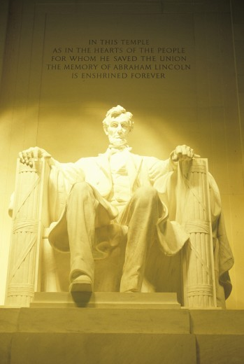 'Statue of Lincoln in the Lincoln Memorial, Washington, DC' : Stock Photo