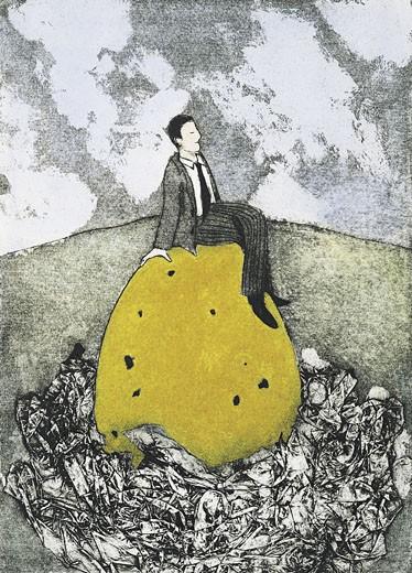 Businessman sitting on an egg : Stock Photo