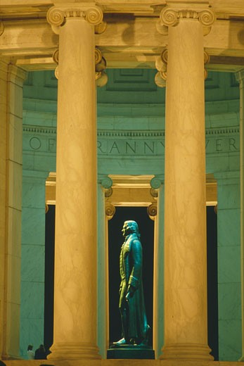Stock Photo: 1598R-9981964 'Statue of Thomas Jefferson at Jefferson Memorial, Washington D.C., yellow tone'