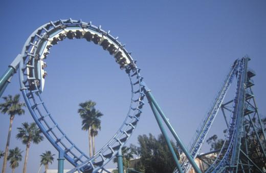 'Roller Coaster, Knott's Berry Farm, Buena Park, California' : Stock Photo
