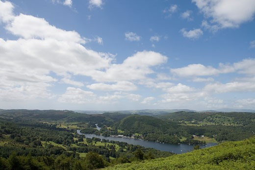 Stock Photo: 1598R-9983486 England, Cumbria, Lake Windermere from Gummers Howe