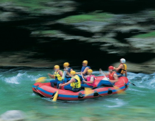 Medium Group of People Paddling an Inflatable Raft on the Salza River in Styria : Stock Photo
