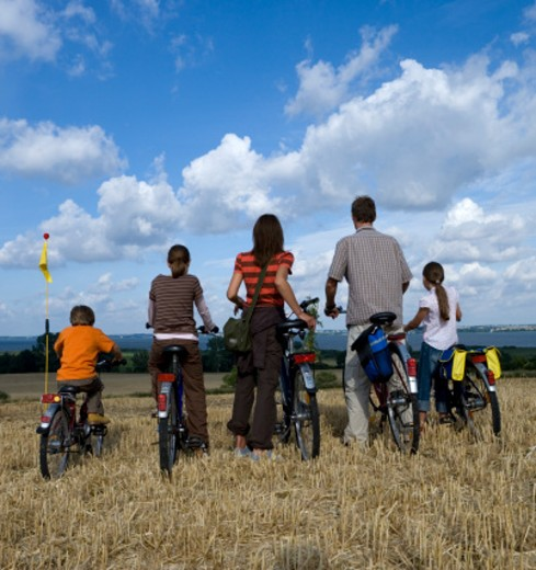 Stock Photo: 1598R-9984942 Parents with three children (6-11) standing at bicycles on grassrear view