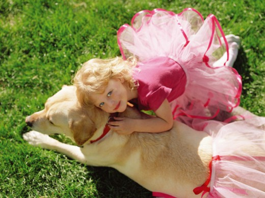 Portrait of a Girl Dressed in a Fairy Dress With Her Arms Around Her Pet Dog Also Wearing a Fairy Dress : Stock Photo
