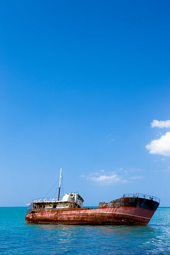 Shipwreck off Black River, Jamaica : Stock Photo