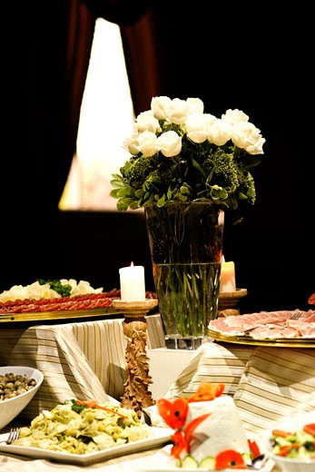 Antipasto variety on the buffet table : Stock Photo