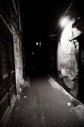 Stock Photo: 1598R-9987011 dark streets. palermo, sicily.