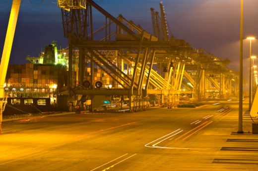 Stock Photo: 1598R-9987334 Dusk view of a container terminal