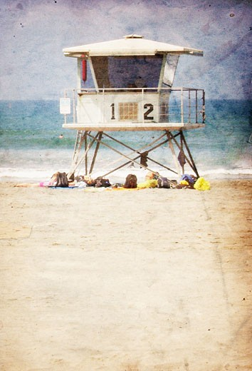 Vintage Lifeguard Towers : Stock Photo