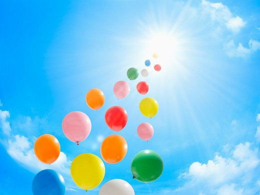 Blue sky and balloons. : Stock Photo