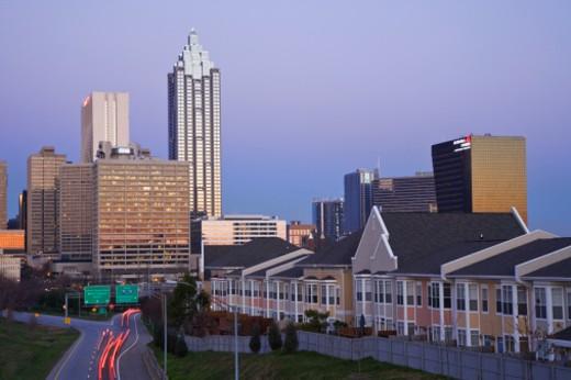 Atlanta and the Freedom parkway at dawn : Stock Photo