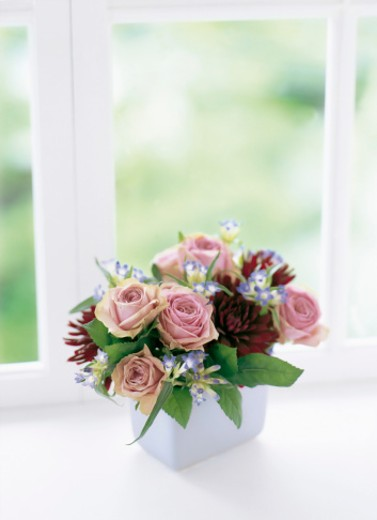 Stock Photo: 1598R-9990075 Pink rose,red dahlia and gentian in vase by window