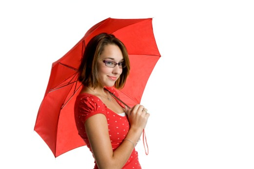 Stock Photo: 1598R-9990116 Girl and Red Umbrella