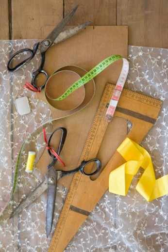Stock Photo: 1598R-9991320 Still life with sewing materials