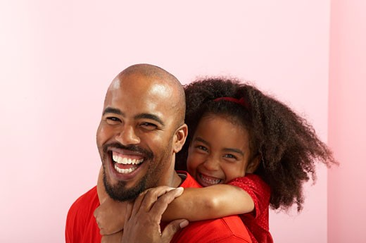 Portrait of smiling father and daughter : Stock Photo