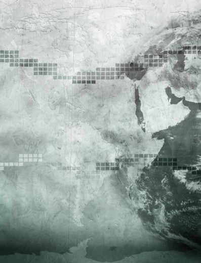 Stock Photo: 1598R-9992526 Business concept composite with continents and textures.