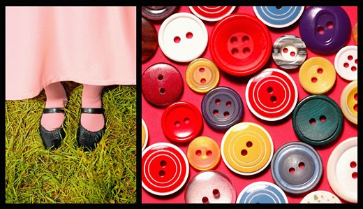 Stock Photo: 1598R-9993611 Composite image of buttons and shoes