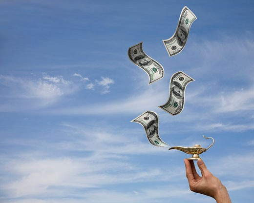 magic lantern spewing out dollars : Stock Photo