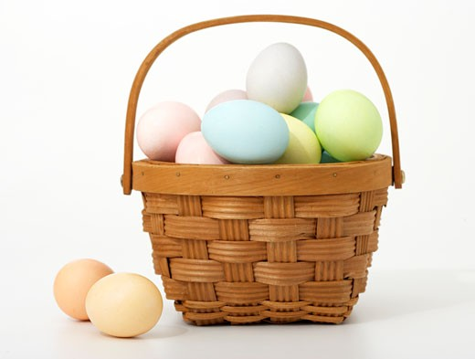Stock Photo: 1598R-9995139 Basket of Easter eggs