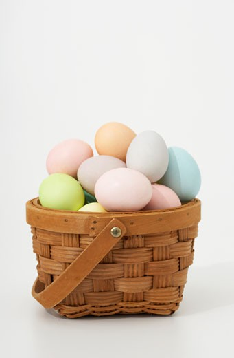 Stock Photo: 1598R-9995144 Basket of Easter eggs