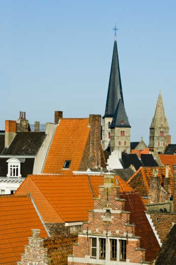 Red tile roofed houses, Belgium, Ghent : Stock Photo