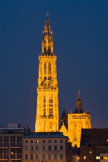 Cathedral of Our Lady, Onze Lieve Vrouwekathedraal, at night, Belgium, Antwerp : Stock Photo
