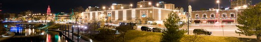 Panorama of The Country Club Plaza in Kansas City, MO, with Brush Creek at left. : Stock Photo
