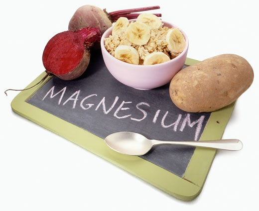 Foods containing Magnesium mineral and chalk board : Stock Photo