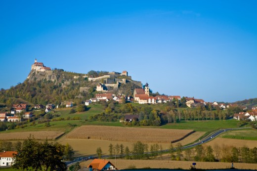 Stock Photo: 1598R-9997895 Riegersburg, Austria with it's Baroque style castle is in the state of Styria close to the border of Hungary.