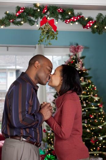 Stock Photo: 1598R-9997930 Couple kissing under mistletoe
