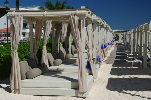 Tanning chaises on the Mayan Riviera : Stock Photo