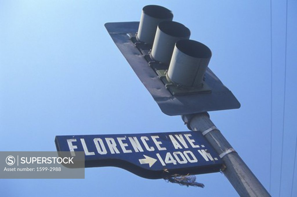 Stock Photo: 1599-2988 Street light at Florence Avenue, South Central Los Angeles, California