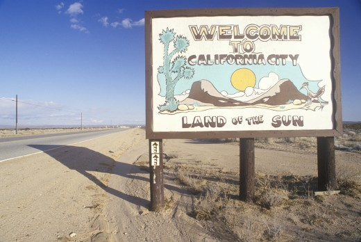 "Stock Photo: 1599-10093 ""Welcome to California City"" road sign in California City, California"
