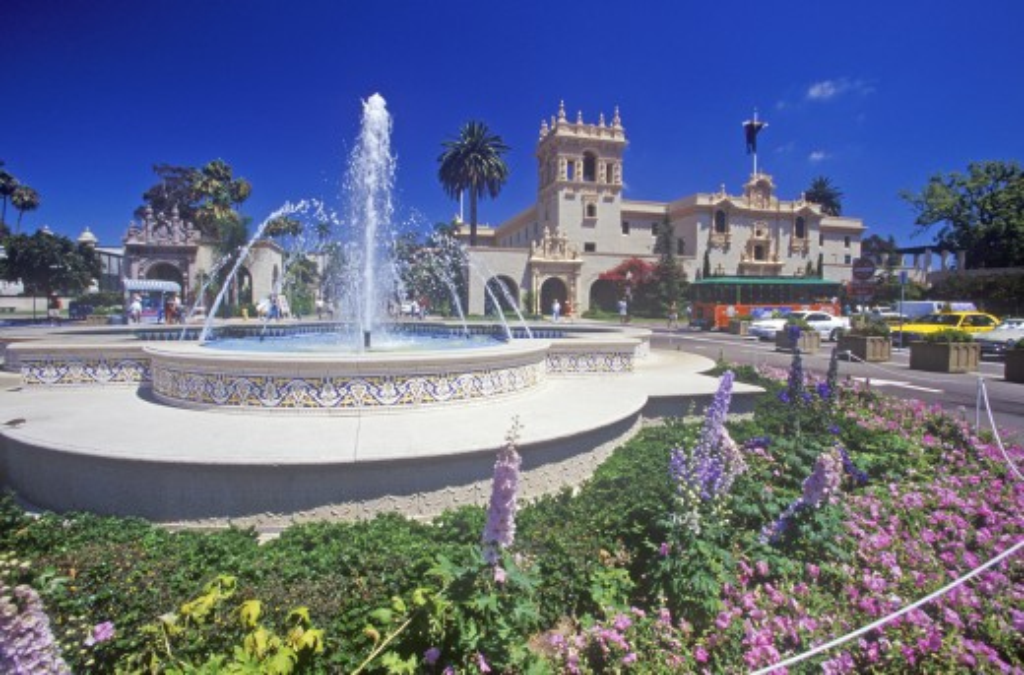 Stock Photo: 1599-10140 Fountain and flowers at Balboa Park Gardens, San Diego, California