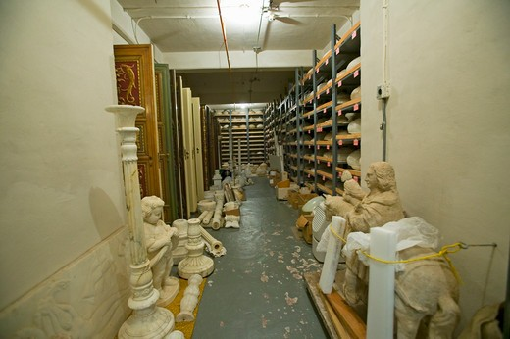 Stock Photo: 1599-10214 Restoration room for art work in basement of Hearst Castle, San Simeon, Central California Coast