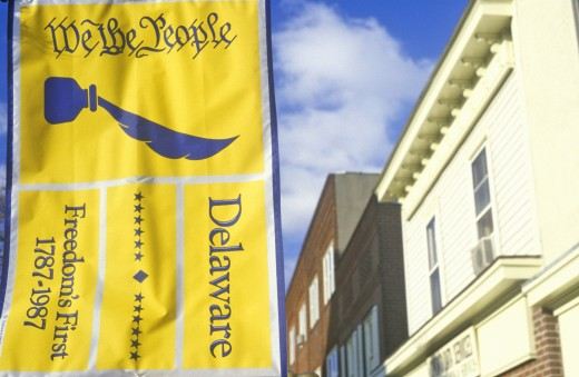 "Stock Photo: 1599-10385 ""We the People"" banner hangs in the states capital city of Dover, Delaware"