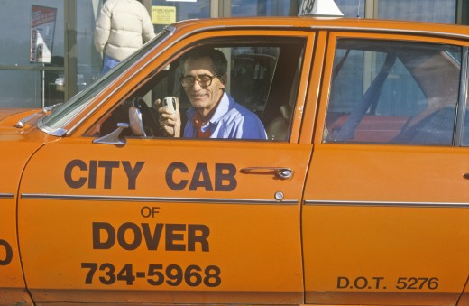 """City Cab"" taxi driver of Dover, Delaware : Stock Photo"
