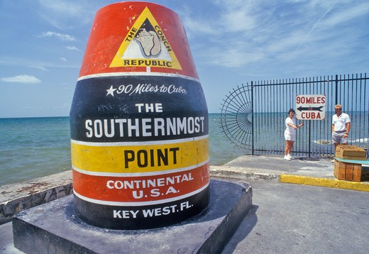Stock Photo: 1599-10478 Southernmost point of the continental United States, Key West, Florida