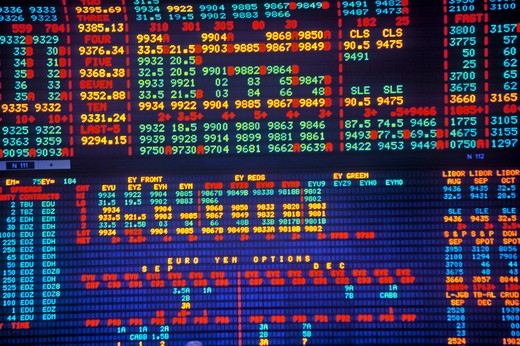 Big Board at the Chicago Mercantile Exchange, Chicago, Illinois : Stock Photo