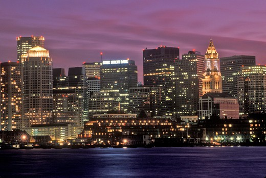Stock Photo: 1599-10690 Skyline At Night, Boston, Massachusetts