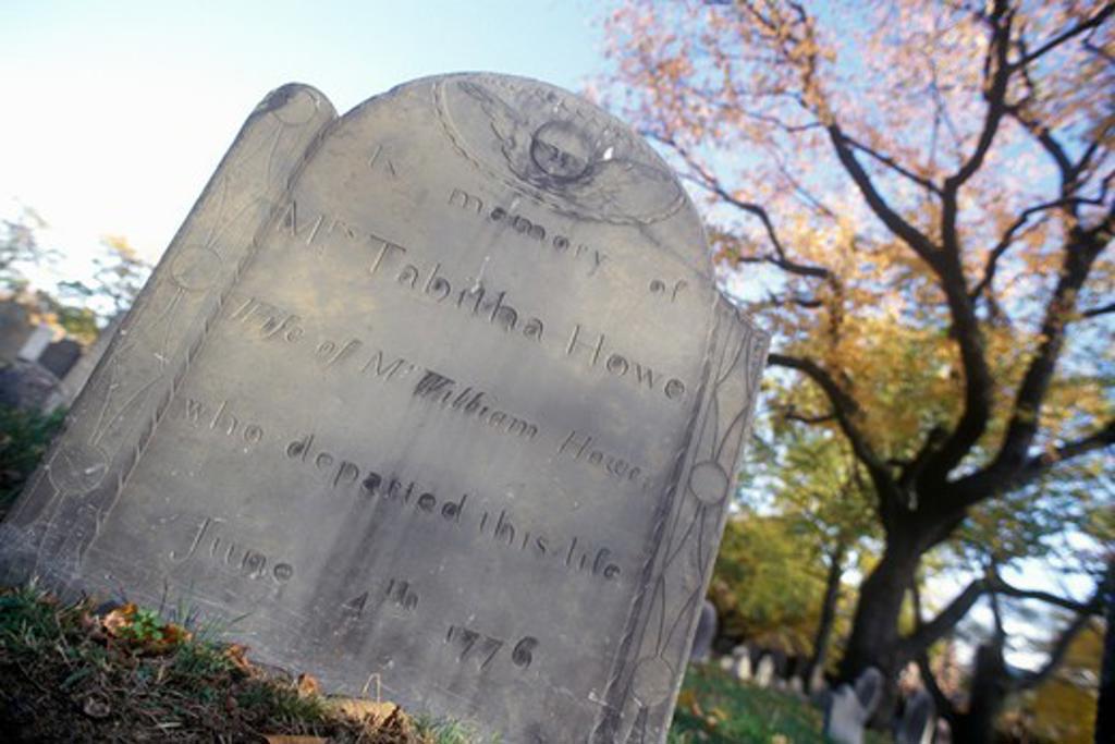 Stock Photo: 1599-10718 Tombstone of Tabitha Howe, Cambridge, Massachusetts