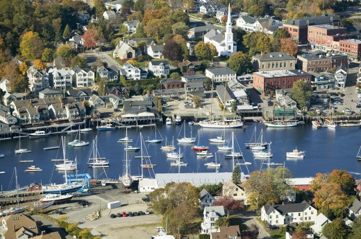 Aerial view of Bar Harbor in autumn, Maine : Stock Photo