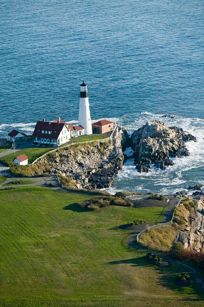 Aerial view of Portland Head Lighthouse, Cape Elizabeth, Maine : Stock Photo